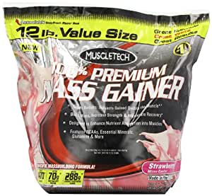 Muscletech 5.44Kg 100 Percent Premium Mass Gainer Strawberry