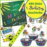 Erster Schultag - ABC Deko & Geschenke - Muffinförmchen, Kerzen, Servietten & Konfetti Schulanfang
