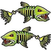 Walmeck 2 Pezzi di Pesce Denti Adesivi Bocca Adesivi Pesce Scheletro Barca da Pesca Canoa Kayak Grafica Accessori