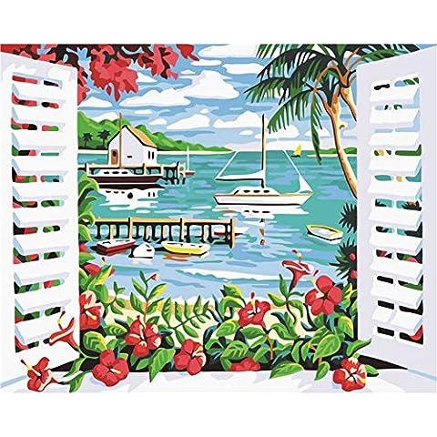 KAYI Ocean Scene Outside the Window Peinture à l'huile par numéros Kit - Kits de peinture à l'huile de bricolage pour adultes, juniors, enfants - Artisanat artisanal Peinture Décoration intérieure