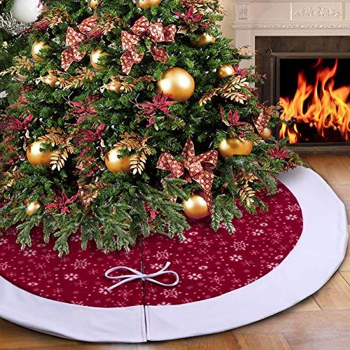 Aparty4u Weihnachtsbaum Rock Samt Weihnachtsbaumdecke Weiß Schneeflocke Baum Rock Traditionellen Weihnachtsbaum Dekoration, 122cm