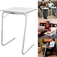 Table Mate Folding Portable TV Tray Laptop Desk Adjustable Height Tilt Angle Multi Function for Sofa Couch Bed Reading Working Eating White