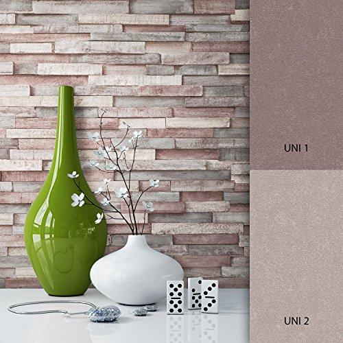NEWROOM Papel pintado efecto piedra marron vellóntapete hermoso diseño moderno 3d mirada, incluyendo papel tapiz guía