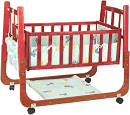 Mee Mee Baby Cradle with Swing and Mosquito Net, Compact, Brown