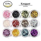 Kanggest 12Pcs Brillo Hexagonal Colorido Cequis del Clavo para las Extremidades Falsas del UV Gel de Acrílico Clava el Arte Maquillaje Arte de DIY
