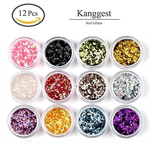 Kanggest, brillantini esagonali colorati per unghie finte in gel UV acrilico, per nail art, per il maquillage, per creazioni artistiche fai da te, 12 unità