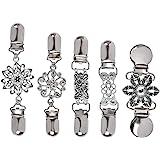 TIMESETL Clip de rebeca de mujer 4 piezas Clips de suéter vintage con flores Diamantes de imitación, Collar de bufanda metal