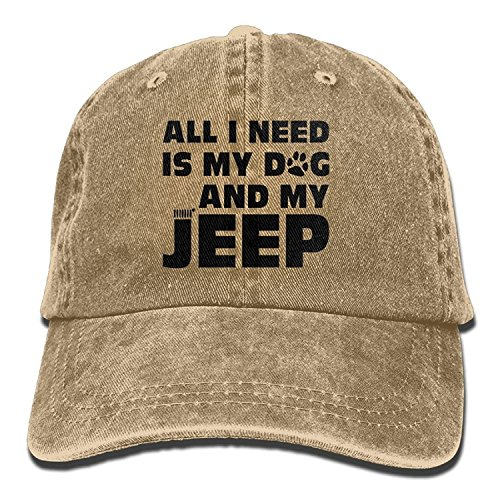 All I Need Is My Dog and My Jeep Adjustable Washed Cap Cowboy Baseball Hat Natural (Tag Hat Dog)