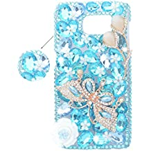 spritech (TM) 3d Handgemachte pura blanca flor de cristal Bling de mariposas de diamante entwurfs de Dura Cubierta de Caso, A1, Samsung Galaxy S6 Edge
