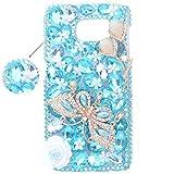Spritech (TM) 3D handgemachte reine weiße Kristall Blume Bling Schmetterlings-Diamant-Entwurfs-harter Abdeckungs-Fall