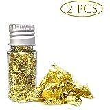 Essbare Gold Foil Blattgoldflocken, 24 Karat Gold Flocken Essbare Lebensmittel Dekorfolie Papier Küche Mousse Kuchen…