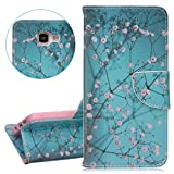 Samsung Galaxy A5 Case, Samsung Galaxy A5 Wallet Case, Samsung Galaxy A5 2016 Flip Case, ISAKEN PU Leather Cover for Galaxy A5 2016 - Fashion Colorful Painted Bookstyle Cell Phone Case Luxury Pu Leather Wallet Magnetic Design Mobile Cover Protect Skin Stand Case Pouch with Card Holder - pink flower blue