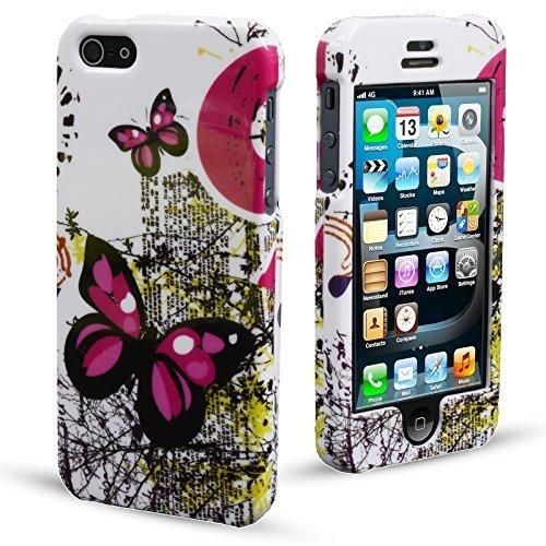 MadCase® Apple iPhone 5S/5ULTRA DÜNN Cute Design Serie Glossy 2Part Case Cover Bumper Farfalle rosa