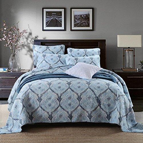 Unimall Couverture Matelassé Bleu en Coton 100% Couvre lit Imprimé Grande Décoration 3 Pièces Draps de Lit (style1)