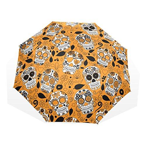 GUKENQ - Paraguas de Viaje Ligero con diseño de Calavera de azúcar, Color Naranja, antirayos UV, para Hombres, Mujeres y niños, Paraguas Plegable y Resistente al Viento