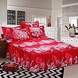 Zhiyuan falda de cama y 2 fundas de almohada con patrón de peonía, 150x200x43cm