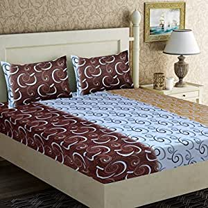 Home Elite 120 TC Cotton Double Bedsheet with 2 Pillow Covers - Paisley, Multicolour