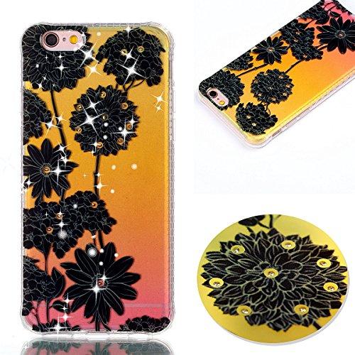 iPhone 6S Plus Hülle,iPhone 6 Plus Hülle,iPhone 6S Plus / 6 Plus Schutzhülle Case,ikasus® TPU Silikon Schutzhülle Case Hülle für iPhone 6S Plus / 6 Plus,Bunte Kunst Gemalt Muster Mit Glänzend Glitzer  Schwarz Daisy Gänseblümchen