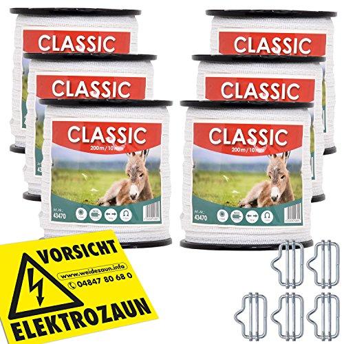 VOSS.farming Weidezaunband 10mm Classic 8 x 0,16 Niro, weiß, Weidezaun und Elektrozaun Band, Elektroband, Pferdezaun, Pferdeband, Ponyzaun, Sparset (1200 m)