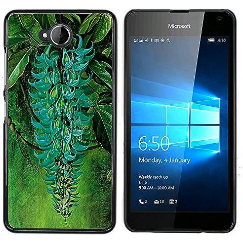 NOKIA Lumia 650 - Aluminum Metal & plastica dura Phone caso - nero - Ramo verde turchese delle piante da giardino della foresta