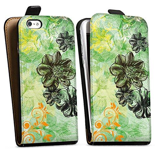 Apple iPhone X Silikon Hülle Case Schutzhülle Blumen Ornamente Blüten Downflip Tasche schwarz