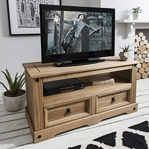 Flat Screen Tv Unit Tv Stand Corona Mexican Pine Tv Table 2 Drawers Rustic Design