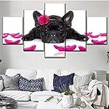 Sanzx Impression sur toile modulaire Tableau Décor Travail Art mural 5 panneaux Animaux français Bouledogue et pétales Art mo