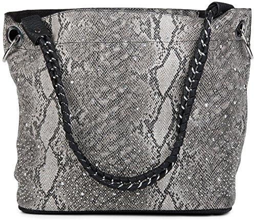 Schwarz Grau Schlange (styleBREAKER Handtaschen Set in Schlangenleder Optik mit Strass Applikation im Sternenhimmel Design, 2 Taschen 02012013, Farbe:Schlange Grau / Schwarz)