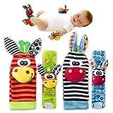 VALUE MAKERS Baby-Rassel Spielzeug–süße Tiere, für Kleinkinder. 4Stück (2für die Arme und 2Socken), weiche Handgelenkschlaufe und Socken; Weiches Spielzeug für Kinder
