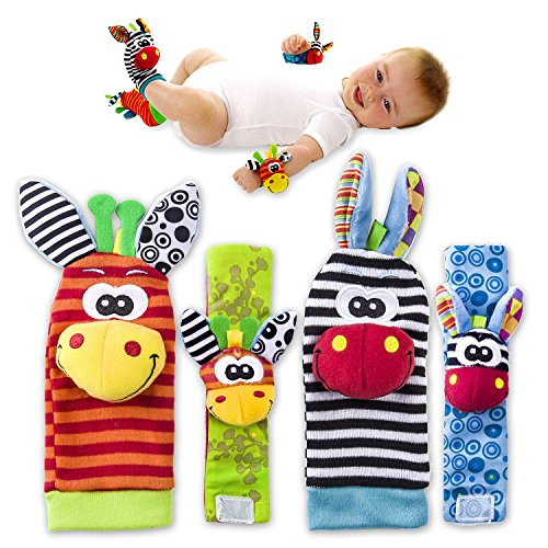 ValueMakers Baby Rattle Toys - Cute Animal Infant 4pcs(2pcs Waist and 2pcs Socks) Soft Wrist Bell Strap Rattles and Foot Socks Finder Set Developmental Soft Toys for Kids