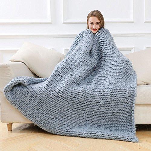 FUGUI Grobstrick Decke, Chunky Yarn Blanket Kuscheldecke Grob Acrylfasern Weich und Flauschig...