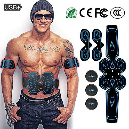 Elettrostimolatore per Addominali Elettrostimolatore Muscolare ABS Stimolatore Addome/Braccio/Gambe con USB Ricaricabile, 6 modalità e 9 Livelli di Intensità