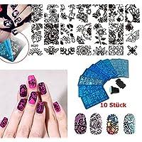 Plantillas para manicura de Vanyda, plantillas para uñas de metal con distintos diseños