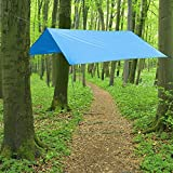 Camping Lluvia Tarp Protección Solar, 3 x 3 m impermeable de protección solar tienda y lluvia techo para picnic, playa, Viajar, Camping, Senderismo o Hamaca al aire libre, con fuertes vientos Cuerdas y barras en práctica bolsa, azul