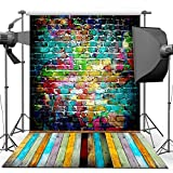 Photography Backdrop, 1.5 x 2.1 m Colorful Brick Wall Wood Floor Backdrop For Studio Props Photo Backdrop