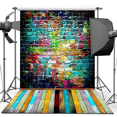 Fotografie Hintergrund, 1.5 x 2.2 M Bunte Mauer Holzboden Hintergrund Für Fotografie Studio Videoaufnahme