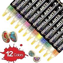 DIGIELE Steine Bemalen Stifte Set, 12 Farben Wasserfeste Permanent Acrylstifte Marker, Kinder DIY Stift Art für Stein, Rock-Malerei, Keramik, Porzellan, Metall, Kunststoff, Holz & DIY Farbe