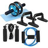 TOMSHOO AB Ruota Roller Kit, Spring Ginnico Addominale Press Wheel PRO con Bbarre Push-up Corda per Saltare e Ginocchiere per