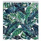 CHENYUE Duschvorhang Grüne Pflanze Muster Top Qualität Anti-Schimmel 180cm*180cm/12 Duschvorhangringe für Badezimmer mit lebendigen Farben 3D Digitaldruck (2)