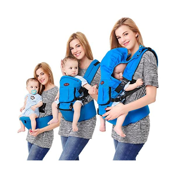Baby Carrier Front and Back Hip Seat Newborn to Toddler Multiple-position with Detachable Sleeping Hood and Pocket Breathable for All Seasons  Multiple Carrying Positions: Baby on the front, on the back and on the hips; Suitable from newborn to toddler (3-36 months)from 7 to 44 lbs (3 - 20 kg) Comfortable & Breathable Material: Made with high quality cotton that is comfortable and cozy for your baby. All Seasons: Detachable front pocket can handle different weather conditions and make your baby feeling cool in summer, warm in winter and comfortable in spring and autumn. 1