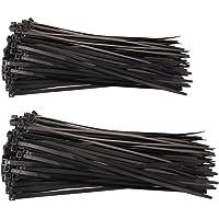 GTIWUNG Lot de 200 Attache de Câble Noir, Colliers Serre-Câbles en Nylon, Autobloquant Zip Ties, la Chaleur et Résistant…