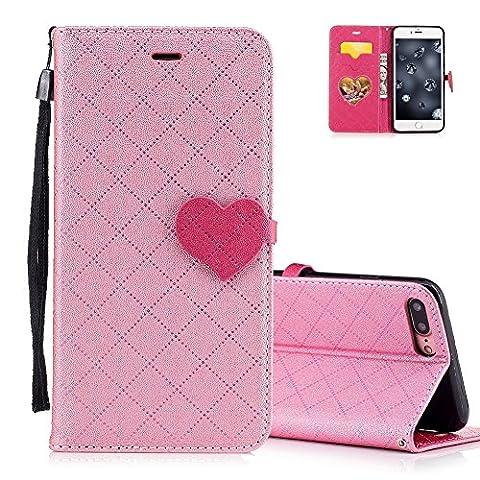 Etui iPhone 7 PLUS Rabat, Aeeque® Luxe Plaid Motif Dessin Housse de Protection en Cuir pour iPhone 7 PLUS Rose Vif Amour Fermoir Magnétique/ Lanyard/ Pochette/ Support Fonction -