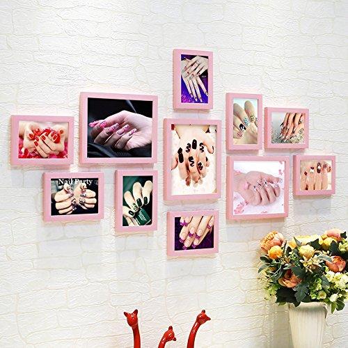 HJKY Photo Frame Wall Set Nagel foto Aufkleber die Wandbilder Nail Beauty Kosmetik Geschäfte wand Dekoration wird an der Wand hängen Gemälde, Rosa mit Maniküre Bild