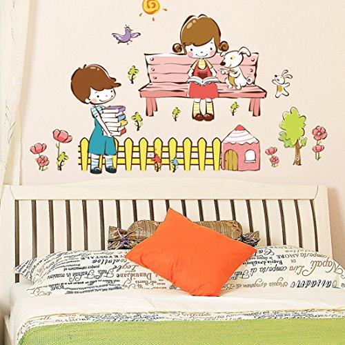 Lovely Boy e Girl Dog House decalcomania per parete, rimovibile Salone Camera da letto Cucina Art Picture decorazioni in PVC Stick decorazione per porta/finestra + 3d rana regalo adesivo per auto