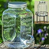 Dapo Getränkespender mit Hahn 4 Liter Saftspender Glaskrug für diverse Getränke mit Zapfhahn