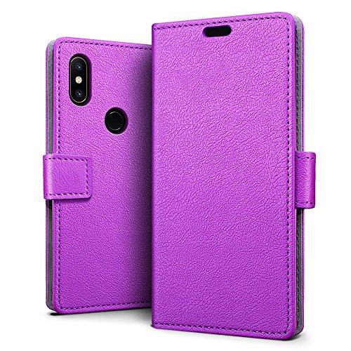 SLEO Funda para Xiaomi Mi Mix 2S Carcasa Libro de Cuero Ultra Delgado Billetera Cartera [Ranuras de Tarjeta,Soporte Plegable,Cierre Magnético] Case Flip Cover para Xiaomi Mi Mix 2S - Púrpura