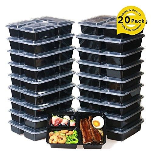Meal Prep Containers [20 Stück] 3 Fächer Lebensmittel Aufbewahrung Bento Box | BPA-frei | stapelbar | wiederverwendbar Lunch-Boxen, Mikrowelle/Spülmaschinenfest/Gefrierschrank Safe, Teil Kontrolle (20-pack) (Karotten Nur Genug)