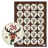24 Adventskalenderzahlen Hirsch für Kinder, zum Basteln Sticker Aufkleber Adventskalender Zahlen, 4 cm zum Basteln und Dekorieren, 1a Qualität