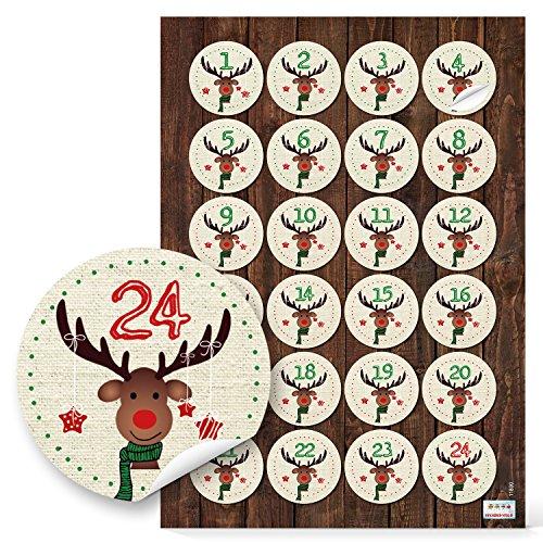 4 x 24 Adventskalenderzahlen 1 bis 24 Zahlen Aufkleber HIRSCH rot grün für Kinder Sticker Adventskalender basteln 4 cm Weihnachtkalender mit Papiertüten selbermachen Nummern-Aufkleber