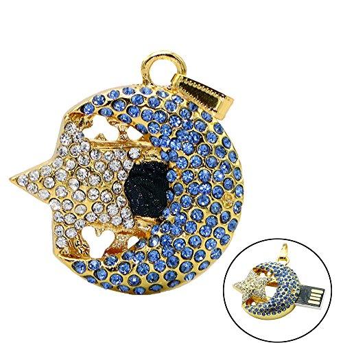 Civetman 64GB Mode Kristalle Schmuck USB 2.0 Flash Memory Pen Drive Mond und Sterne Blau Anhänger für Halskette